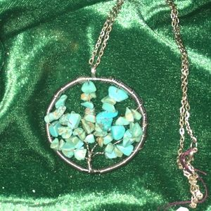 Turquoise stones necklace Tree Of Life